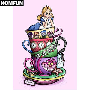 5D Diamond Painting Alice in Wonderland Tea Cups Kit