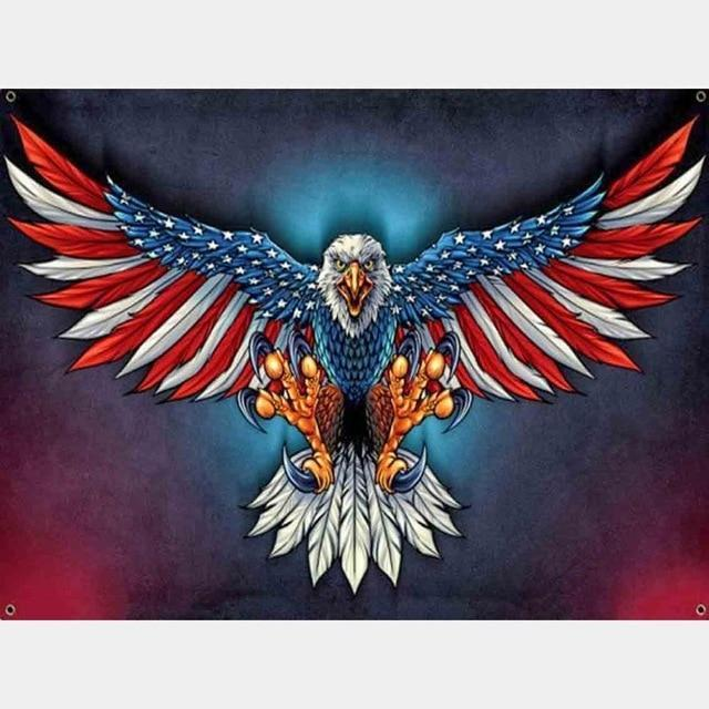 5D Diamond Painting American Flag Feather Eagle Kit