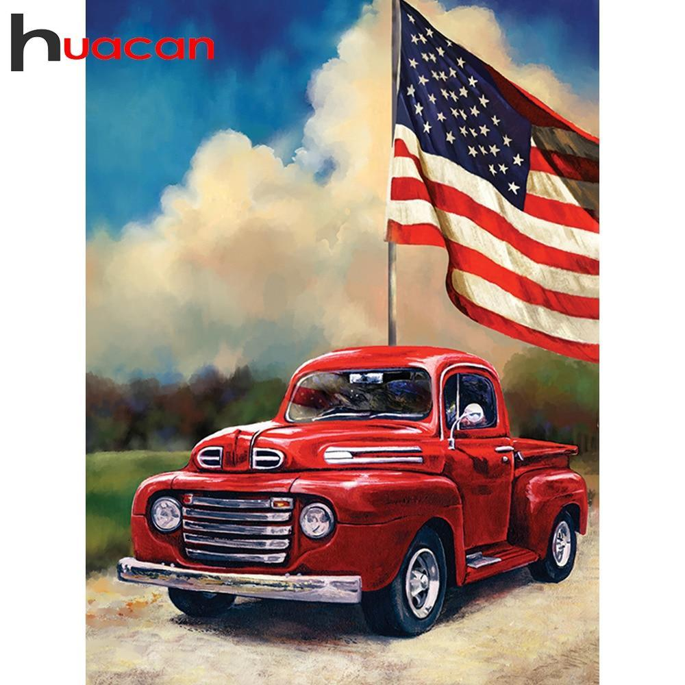 5D Diamond Painting American Flag Red Truck Kit