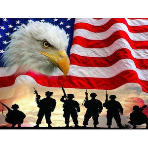 5D Diamond Painting American Soldier Silhouettes Kit