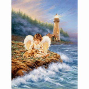 5D Diamond Painting Angel and Light House  Kit