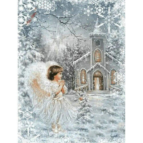 5D Diamond Painting Angel by the Church Kit