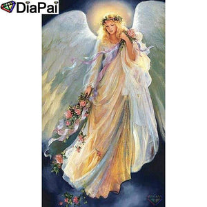5D Diamond Painting Angel Holding Flowers Kit