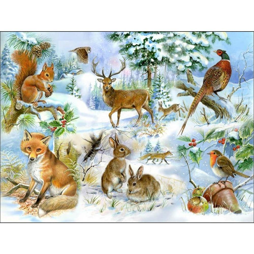 5D Diamond Painting Animals in the Snow Collage Kit