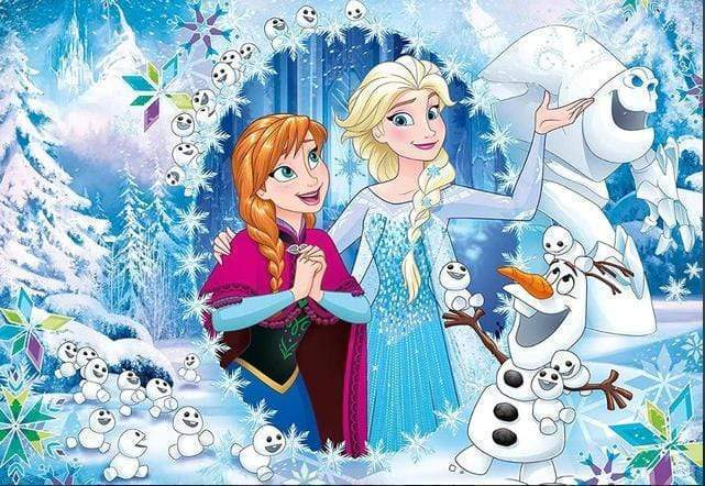 5D Diamond Painting Anna and Elsa Snowman Kit