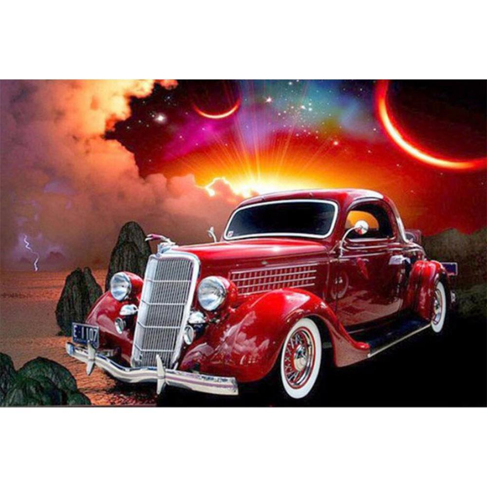5D Diamond Painting Antique Red Car Kit