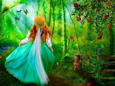 5D Diamond Painting Apple Tree Girl Kit