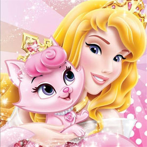 5D Diamond Painting Aurora & Her Pink Cat Beauty Kit