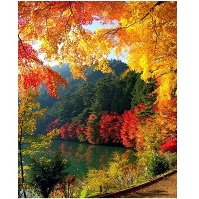5D Diamond Painting Autumn Lake View and Trees Kit