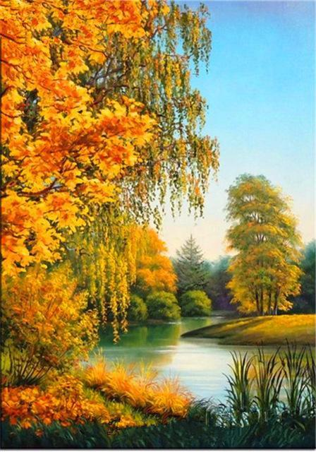 5D Diamond Painting Autumn Trees Lakeside Kit