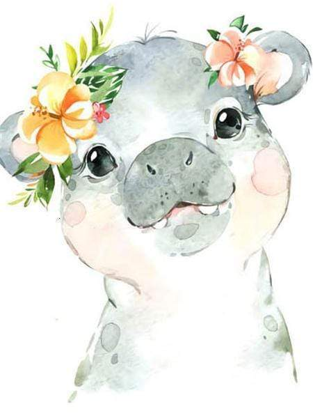 5D Diamond Painting Baby Hippo with Flowers Kit