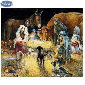 5D Diamond Painting Baby Jesus Asleep on the Hay Kit