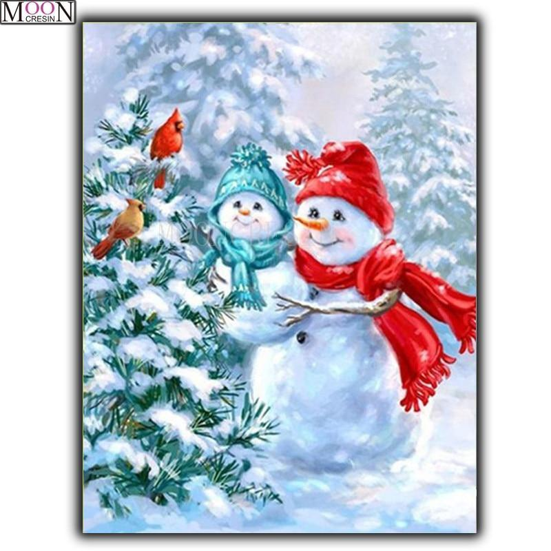 5D Diamond Painting Baby Snowman Birds Kit