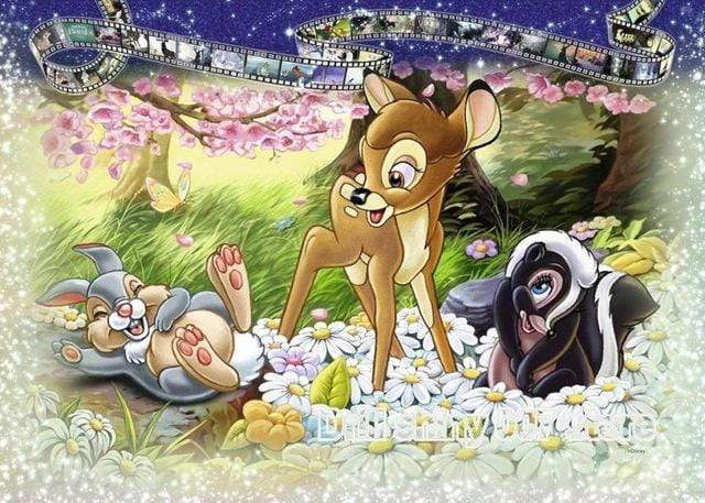 5D Diamond Painting Bambi in the Flowers Kit