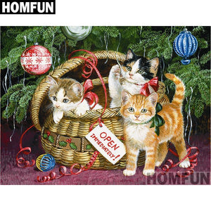 5D Diamond Painting Basket of Christmas Kittens Kit