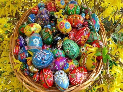 5D Diamond Painting Basket of Painted Eggs Kit