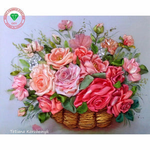 5D Diamond Painting Basket of Roses Kit