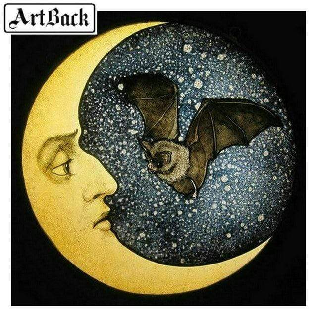 5D Diamond Painting Bat and the Moon Kit