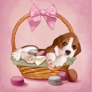 5D Diamond Painting Beagle Puppy Macaroons Kit