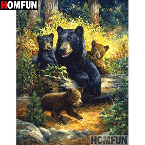 5D Diamond Painting Bear and Her Cubs on a log Kit