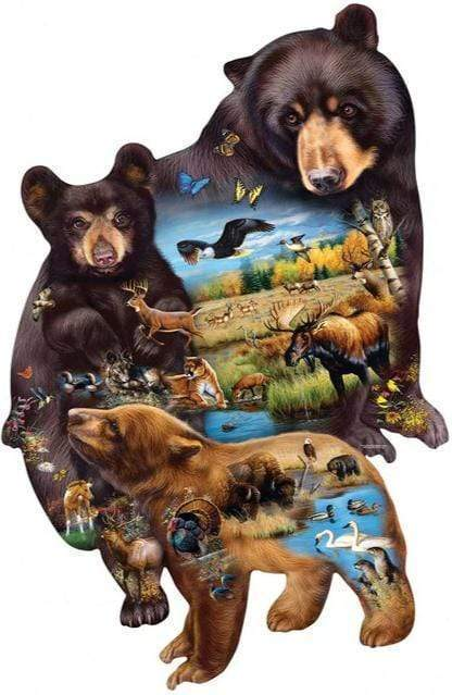 5D Diamond Painting Bear Wilderness Collage Kit