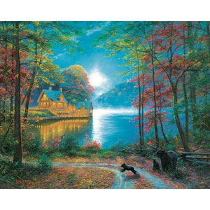 5D Diamond Painting Bears by the Lake House Kit