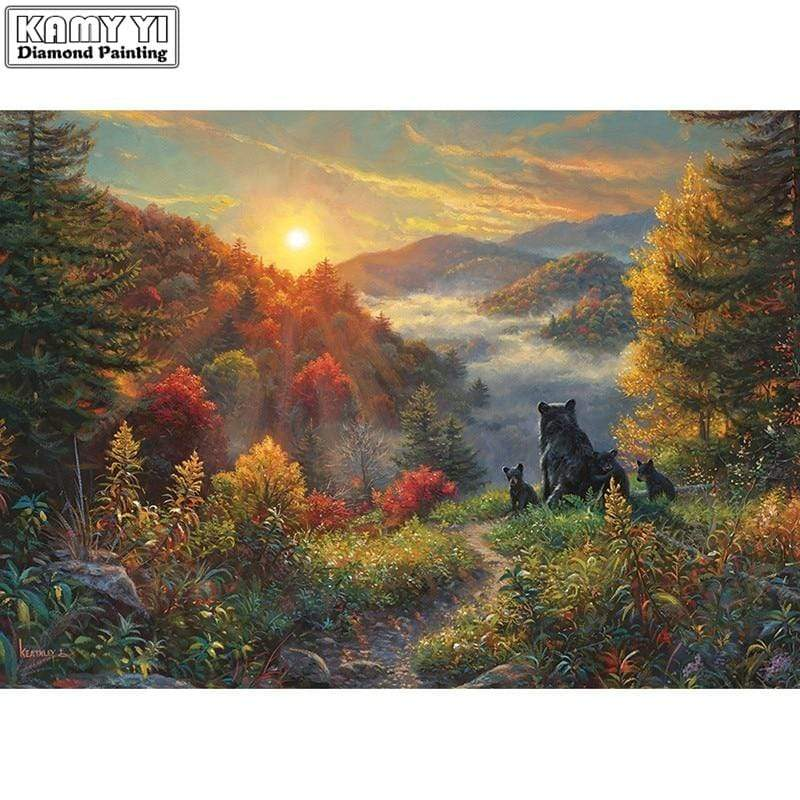 5D Diamond Painting Bears Watching the Sun Rise Kit