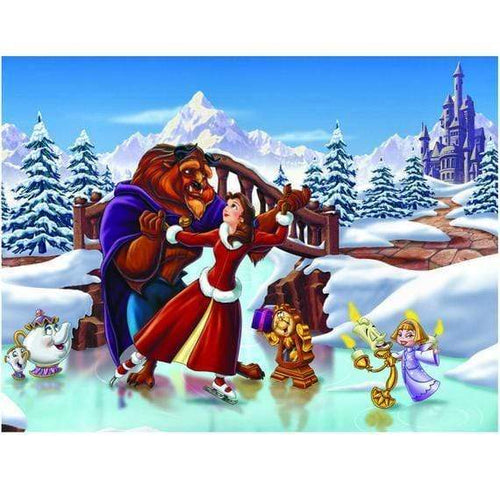 5D Diamond Painting Beauty and the Beast Ice Skating Kit