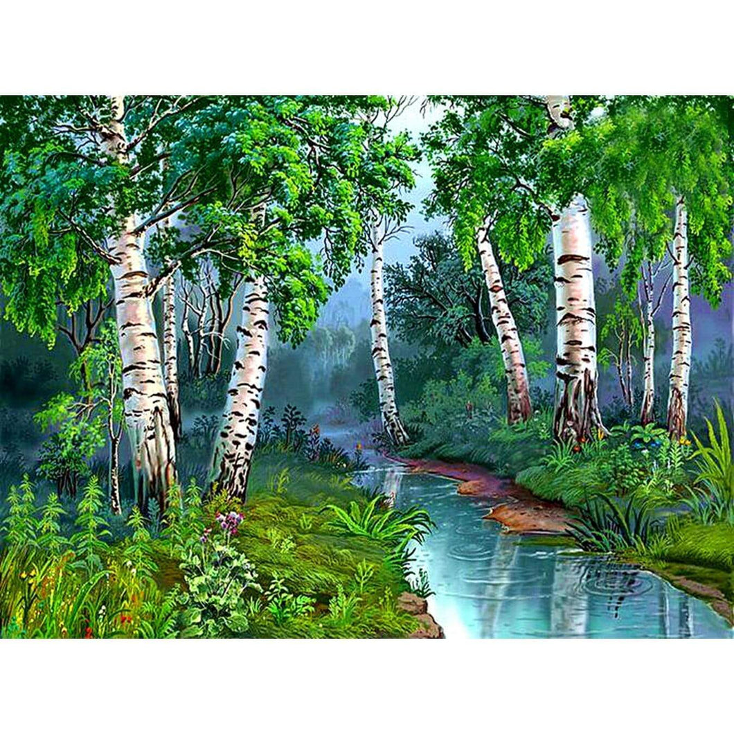 5D Diamond Painting Birch Trees By the River Kit