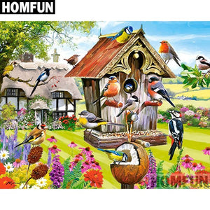 5D Diamond Painting Bird House Party Kit