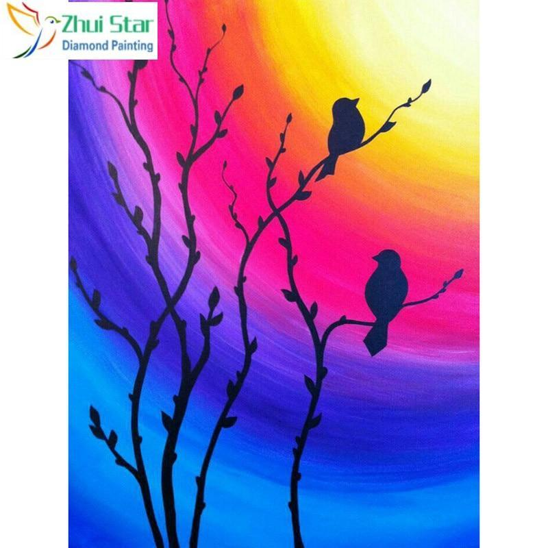 5D Diamond Painting Bird Silhouette Rainbow Sky Kit