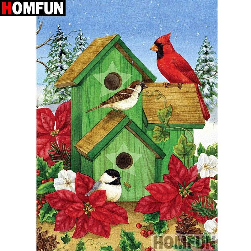 5D Diamond Painting Birds and Green Bird Houses kit