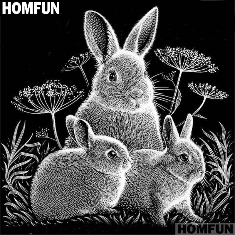 5D Diamond Painting Black and White Bunny Family Kit