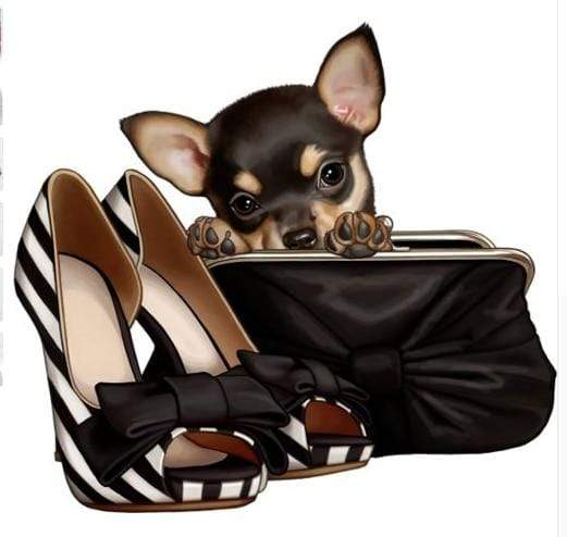 5D Diamond Painting Black and White Shoe Purse Chihuahua Kit