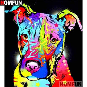5D Diamond Painting Black Background Abstract Pit bull Kit