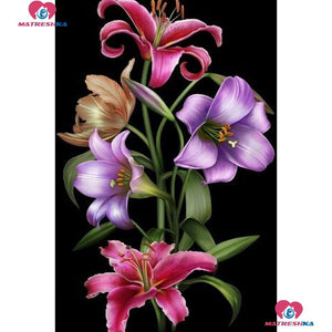 5D Diamond Painting Black Background Lilies Kit