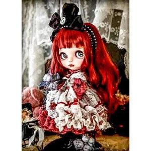 5D Diamond Painting Black Bow Red Haired Girl Kit