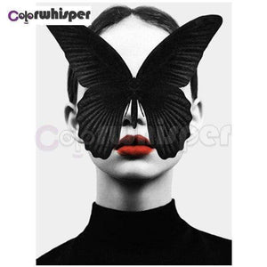 5D Diamond Painting Black Butterfly Face Kit
