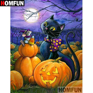 5D Diamond Painting Black Cat and Candy Corn Mouse Kit