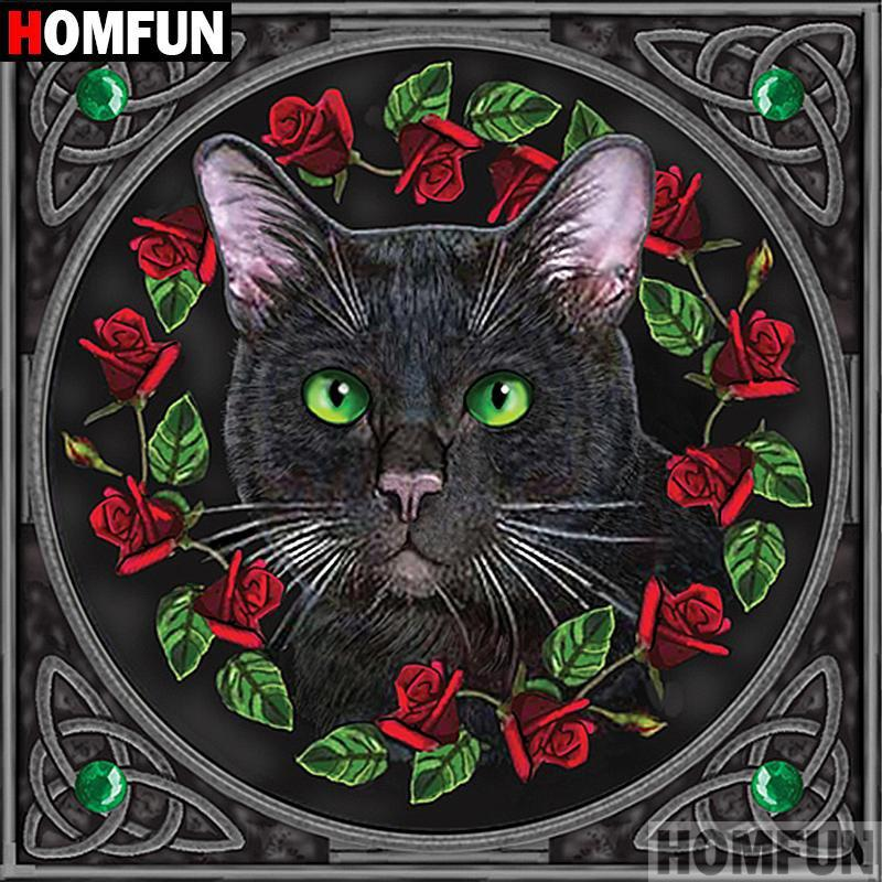 5D Diamond Painting Black Cat and Red Roses Kit