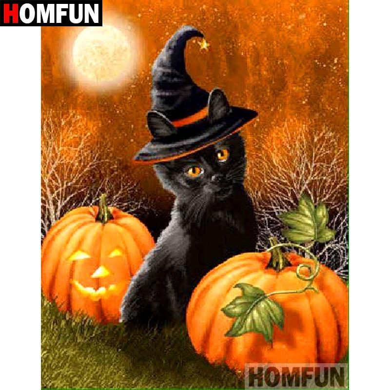 5D Diamond Painting Black Cat in the Pumpkin Patch Kit