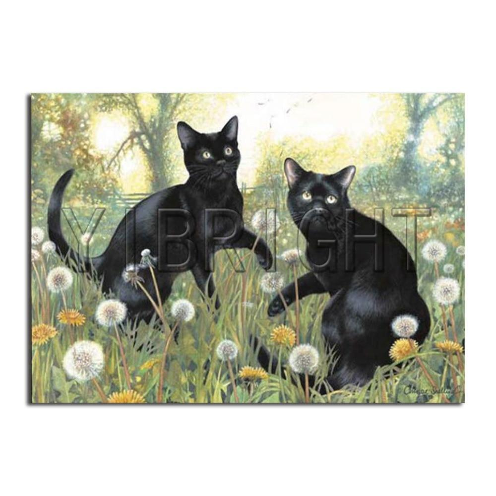 5D Diamond Painting Black Cats in the Dandelions Kit