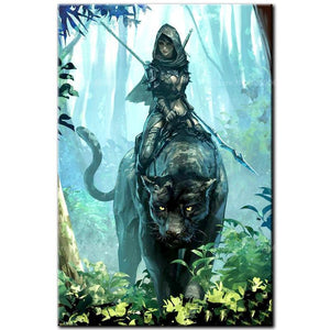 5D Diamond Painting Black Jaguar Warrior Kit
