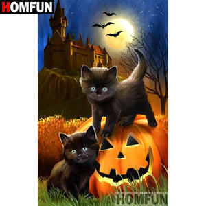 5D Diamond Painting Black Kittens and Pumpkin Kit