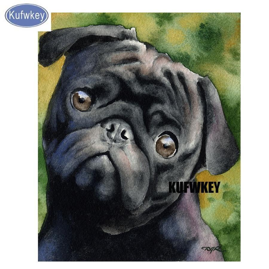5D Diamond Painting Black Pug Close Up Painting Kit