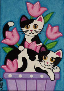 5D Diamond Painting Black & White Cats in the Tulips Kit
