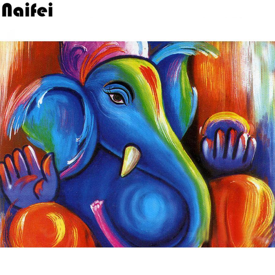 5D Diamond Painting Blue Abstract Elephant Kit