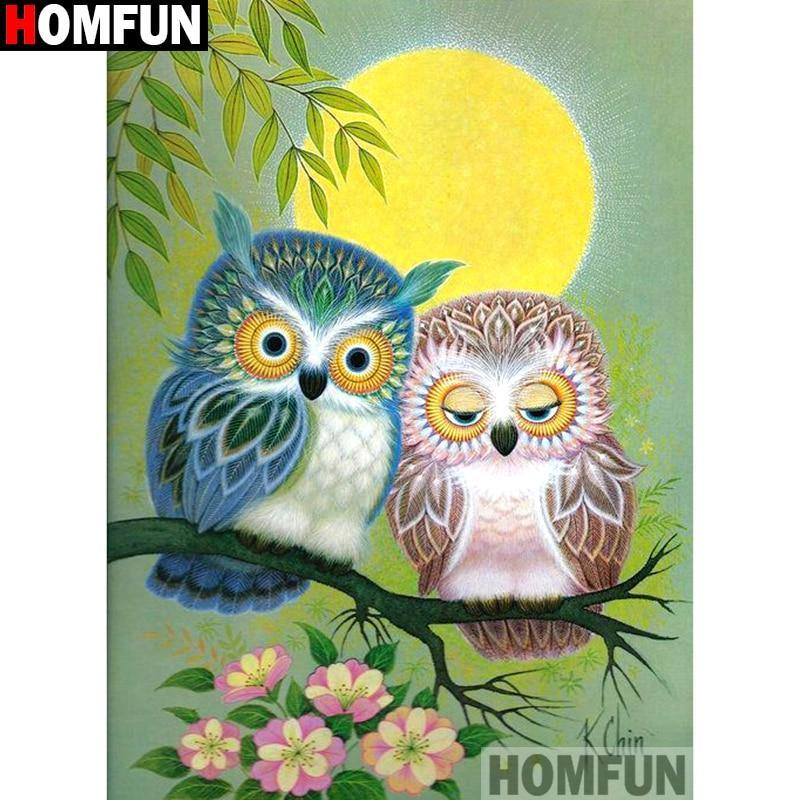 5D Diamond Painting Blue and Brown Little Owls Kit