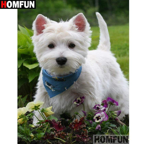 5D Diamond Painting Blue Bandanna Westie Kit