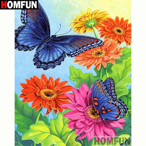 5D Diamond Painting Blue Butterflies and Colorful Daisies Kit